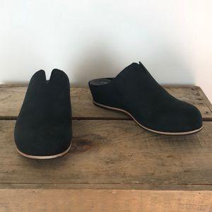 KORK-EASE black leather slip on wedge shoes sz 7
